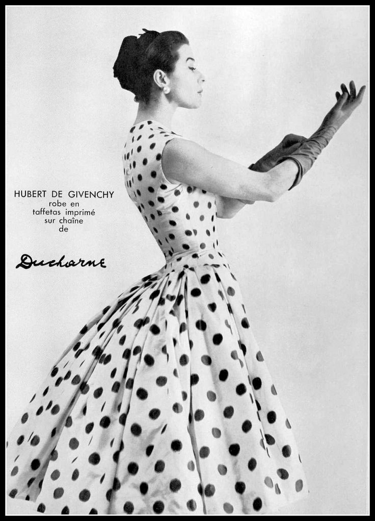 Bettina in polka-dot taffeta dress, sleeveless fitted bodice with fullness of skirt in the back, by Givenchy, photo by Jacques Decaux, 1955