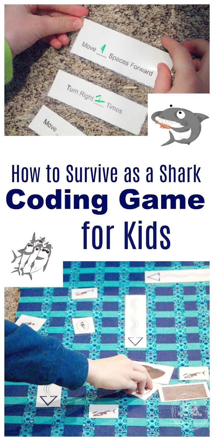 Avoid being eaten in this shark themed coding game. Fun STEM learning for kids!
