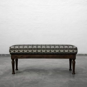 Verne Upholstered Bench Black White