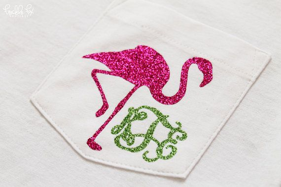 Glitter Monogram Pocket Tee Shirt Flamingo Short Sleeve Shirt Preppy Shirt Monogrammed Pocket Shirt on Etsy, $30.00