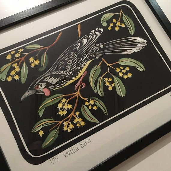 Lino Print  Wattle Bird  Hand coloured