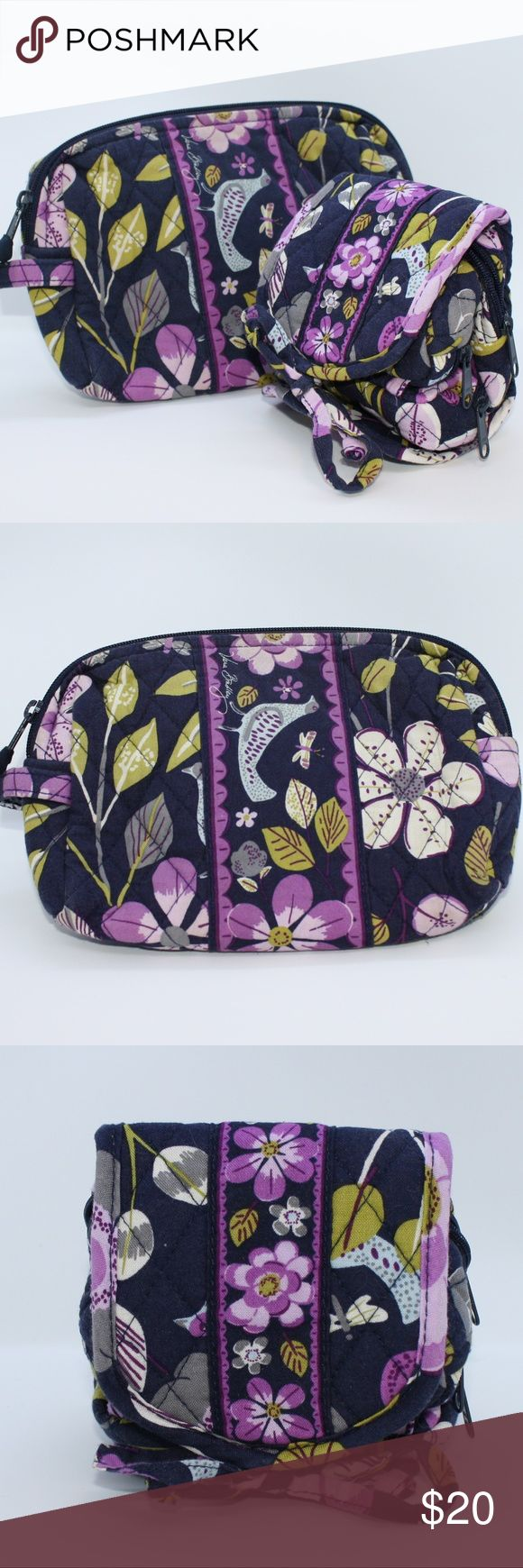 Vera Bradley Floral Nightingale Bag Bundle Vera Bradley Small Cosmetic Bag & Vera Bradley All Wrapped Up Jewelry/Cosmetic Travel Case  The cosmetic bag has two small nail polish stains on the inside plastic liner. But overall is in great shape! The jewelry roll case looks like it was never used!  This is a retired pattern and still is very on trend and stylish today. Save big with this 2 bag combo! Vera Bradley Bags Cosmetic Bags & Cases