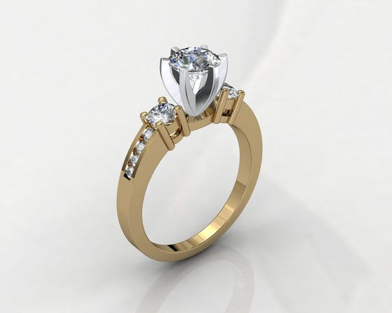 Solitaire Triology 3D CAD STL File Format Ring by PiettroJewelry, $18.00