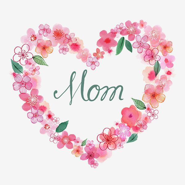 Margaret Berg Art: Pink Blossoms Heart Wreath for Mom