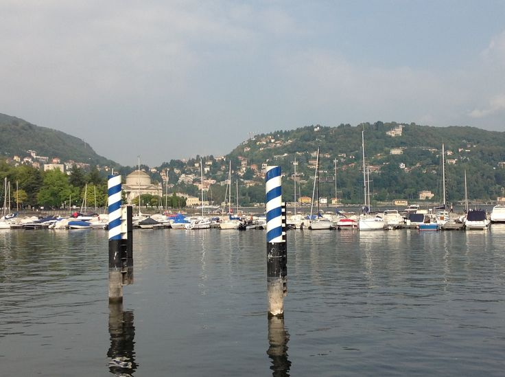 Small boats on Lake Como, Milan.