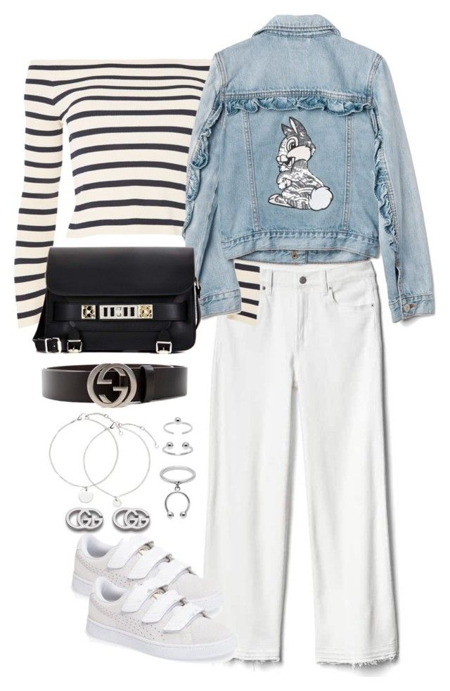 """Untitled #4436"" by theeuropeancloset on Polyvore featuring Gap, Puma, Topshop, Disney, Proenza Schouler, Gucci and Maria Francesca Pepe"