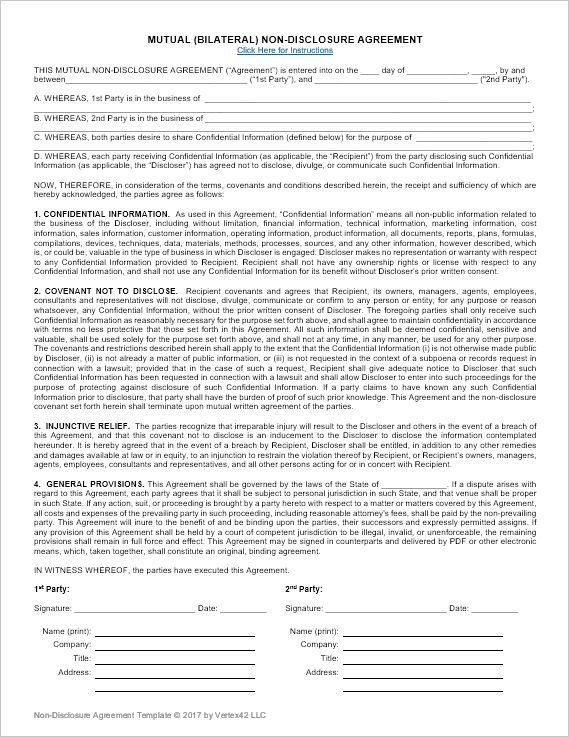 Download a free Non-Disclosure Agreement (NDA) or confidentiality - disclosure agreement sample