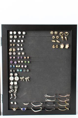 8x10 Double Framed Earring Organizer - Black
