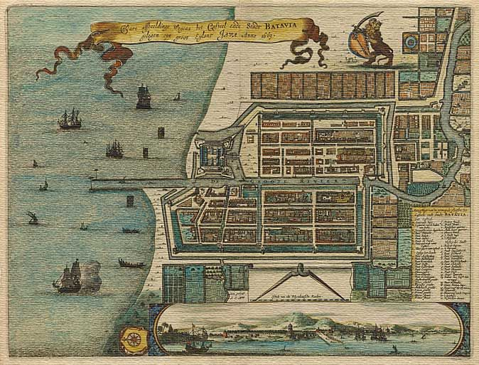 Circa 1669 Formerly Batavia and the old headquarters of the Dutch East India Company. Note the palatial houses belonging to wealthy Dutch merchants. Many of the canals were disease ridden and many visiting ship's crews on their way home to Europe fell ill.