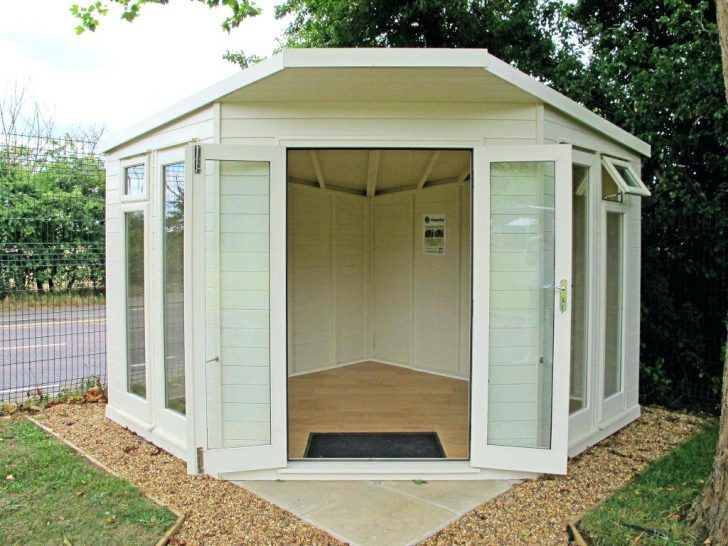 Outdoor Office Shed Plans Uk Kits Wooden Corner Summerhouse House Garden Log Picture Small Modern Summer