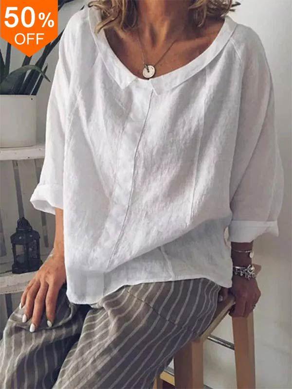 S-5XL Women Solid Color Cotton Lapel 3/4 Sleeve Bl…
