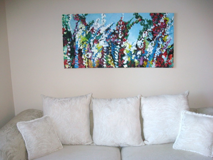 Abstract Floral with a white sofa.  Clean and crisp.  Acrylic on canvas 2ft by 4 ft.