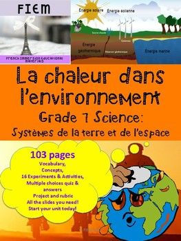 French Immersion, Grade 7 Science 103 READY-MADE slides to support your work with your unit science about Heat in the Environment! Check out the PREVIEW FILE. EVERYTHING YOU NEED! and SAVE YOURSELF HOURS OF WORK!!!!!! Integrate this resource in your