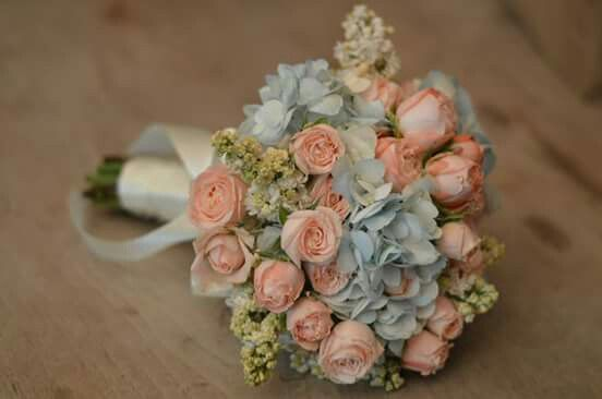 Blue and light pink bouquet