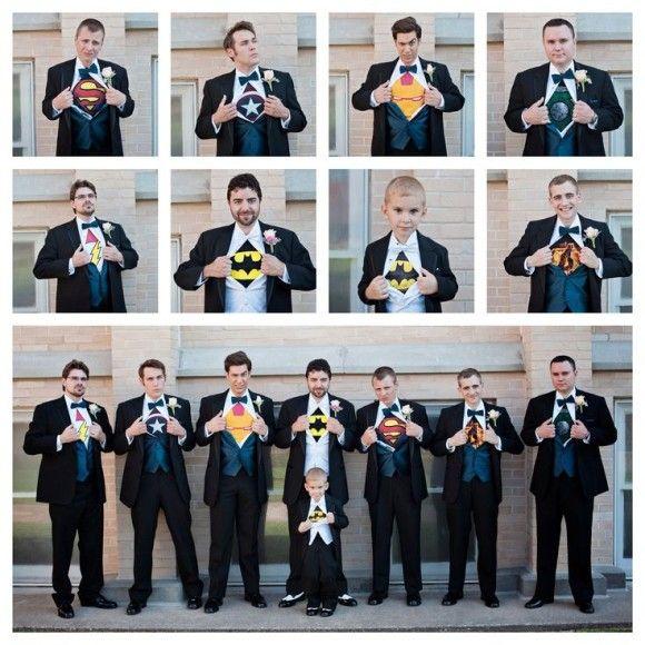 comic theme wedding groomsmen