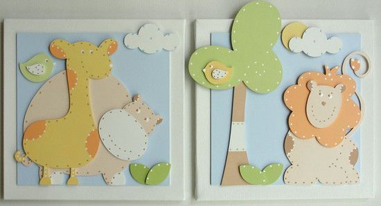 Quadros Bebê Bichos da Selva - O Canto das Artes - Decoração para Bebês