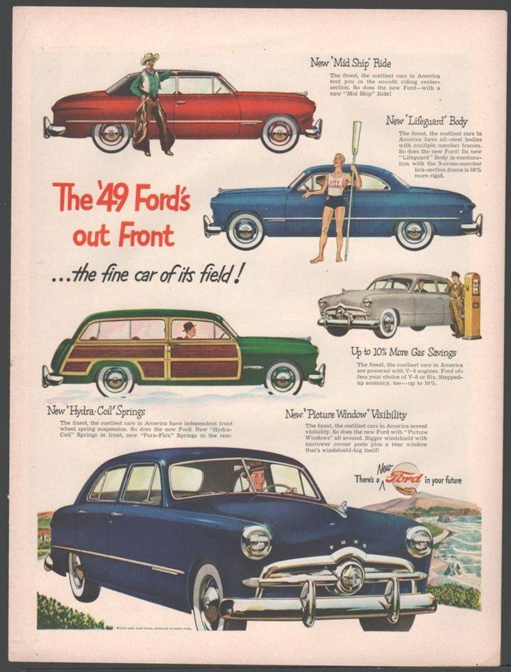 1949 FORD Custom Dark Blue Sedan / 2-door, Convertible & Wagon Antique Car AD