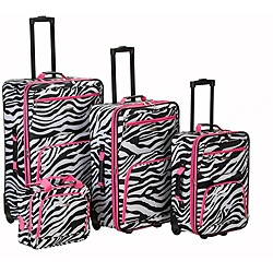 @Overstock - Identifying your luggage at the airport is easy with this bold luggage set. The zebra-print bags are accented with bright pink trim, so youll make a statement wherever you go. The set comes with a rolling carry-on, tote bag and two upright bags.http://www.overstock.com/Luggage-Bags/Rockland-Designer-Pink-Zebra-4-piece-Luggage-Set/5540883/product.html?CID=214117 $119.99