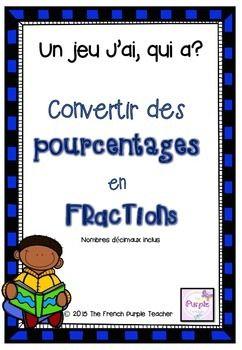 Convertir des pourcentages en fractions (avec nombres décimaux)