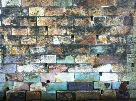 Brisbane Tuff Stone wall rock Welded ignimbrite Purple green pink beige brown orange