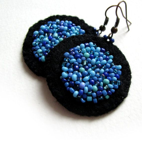 Blue sea - handmade black felt earrings with blue glass beads