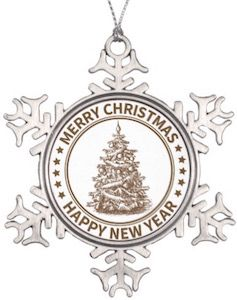 This pewter Christmas tree ornament is shaped like a snowflake and has a tree in the middle nad the text Merry Christmas and Happy New Year.