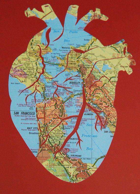 Custom Anatomical Heart Map Art by Marissa Carter [GrannyPantyDesigns]