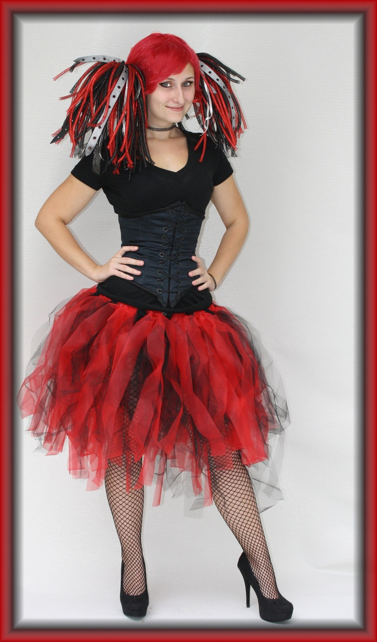 This is for the Harley Quinn Inspired Tutu!Made with alternating red and black tulle tied to an elastic waistband.34 inch waist ( can be adjusted to fit be sure to tell me the size you need when orderingThe length from waist to bottom is 19-20 inches.Also pictured is the Harley Quinn Cyber Locs sold separately in my storeAll items are made from new materials and come from my smoke-free home!