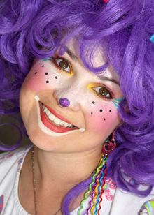 .  (simple but effective makeup, not full face, but leaving some natural skin... and with happy purple hair!)