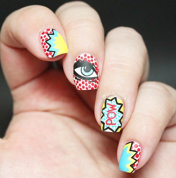Fifteen Beautiful And Colorful Art Designs For Short Nails 6