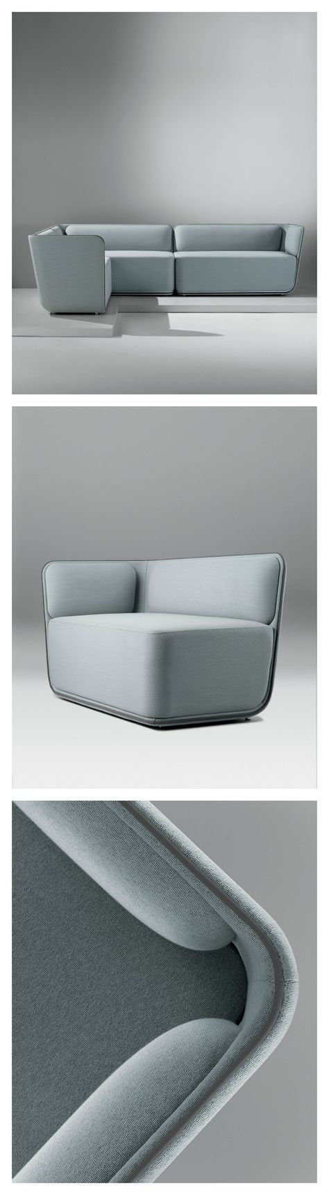 The Elle lounge chair, sofa, and modular seating share continuous lines that convey fluidity and motion, inspired by the energy of skateboarding. Planes and lines combine for a youthful elegance and a fresh style.