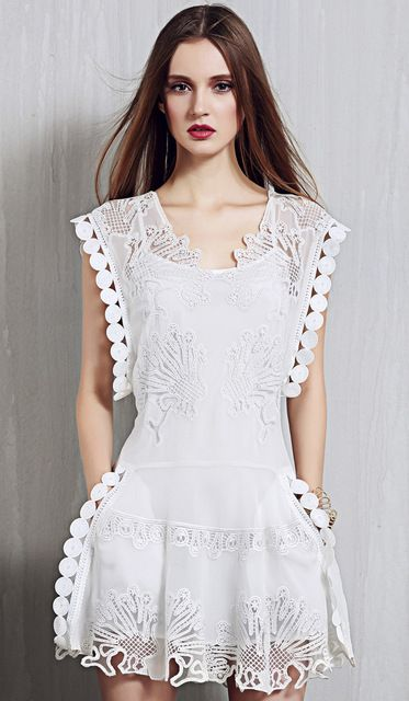 European elegant designer sleeveless embroidery lace women dress high waist debutante dress female woman summer dresses clothes US $56.00 /piece  CLICK LINK TO BUY THE PRODUCT  http://goo.gl/oYWEYs
