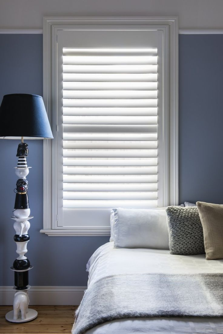 Timber Shutter in Phoenixwood – Silk White, 89mm Blade.                                                                          |                                                                          Window Furnishing: Shutters                                                                          |                                                                          Room: Bedroom