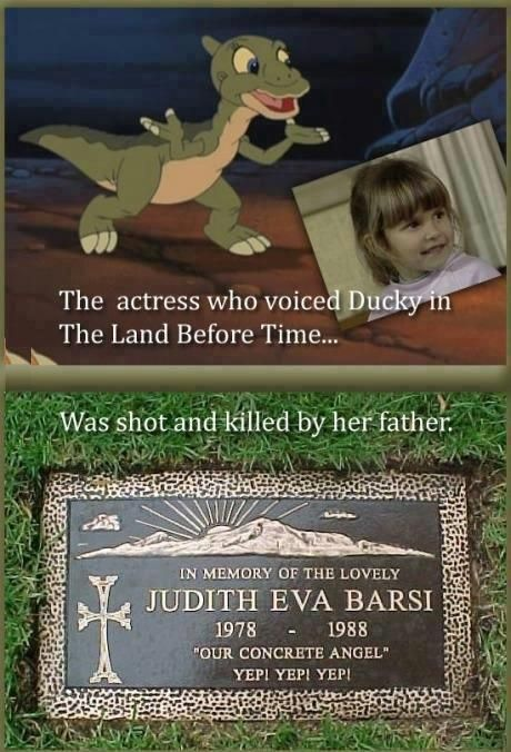 Judith Barsi the little girl from Jaws the Revenge. provided a voice all dogs go to heaven and Her favorite role was Ducky in The Land Before Time. This is sadly true: http://landbeforetime.wikia.com/wiki/Judith_Barsi