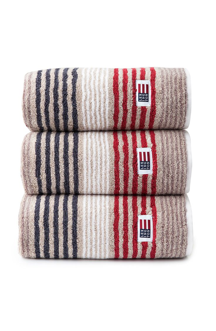 Lexington Original Striped Towel. Beige/Red Multi