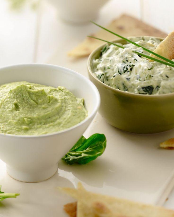 Drie dips met spinazie