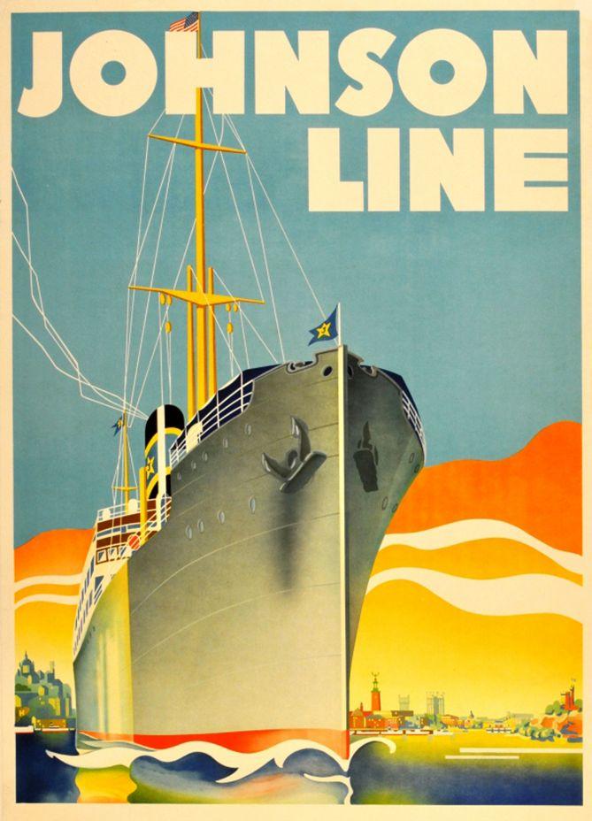 Johnson Line Cruise Ship poster, ca.1930s.