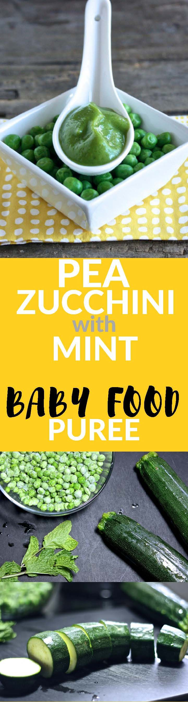 A refreshing baby food puree made with peas, zucchini and mint! A fun green puree that baby will love.