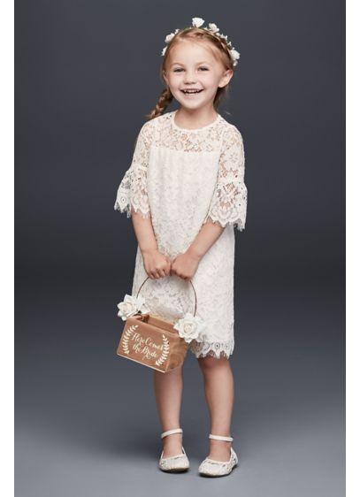 Short Lace Flower Girl Dress with Illusion Sleeves OP239