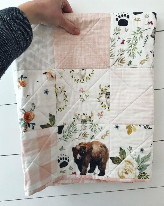 Whole Cloth Baby Quilt Forest Nursery Quilt Quilted Baby Blanket Baby Quilts Handmade Woodland Baby Bedding Woodland Baby Quilt