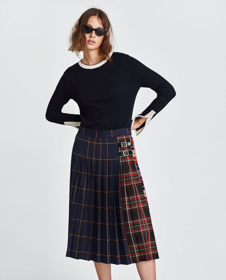 ZARA - NEW COLLECTION - CHECKED SKIRT