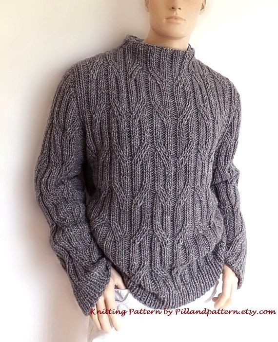 Men sweater Cable knit pullover knitting pattern por PillandPattern