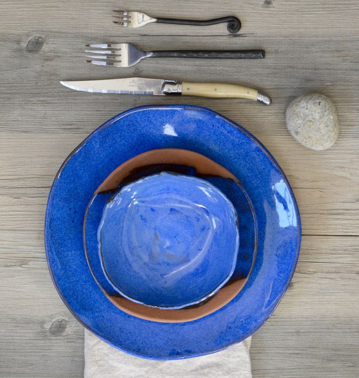 Terracotta and Blue dinner set - ceramic plates - Provence - wedding gifts modern dish sets by BlueDoorCeramics on Etsy