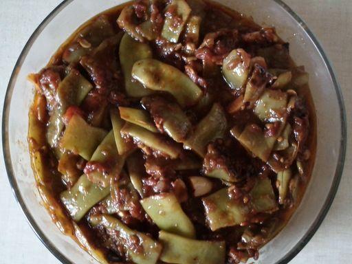 Haricots plats (coco) à l'huile d'olive (recette libanaise)