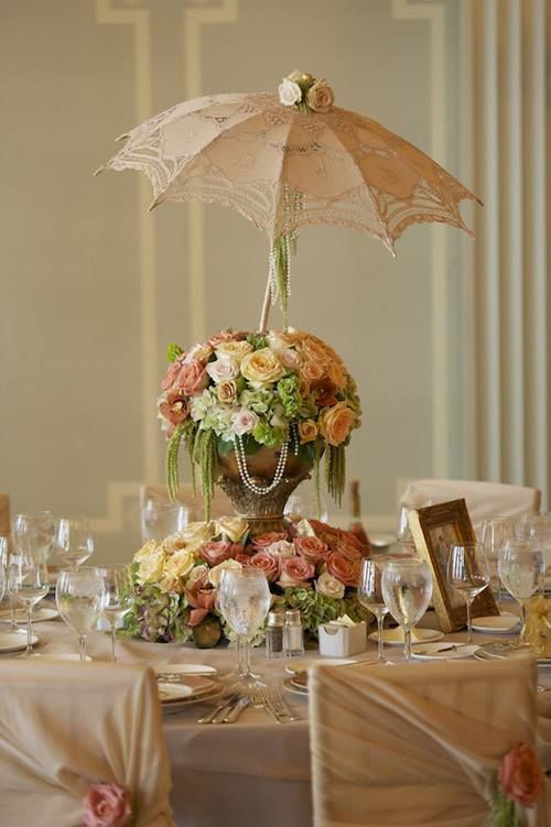 New Wedding Centerpiece Ideas: vintage umbrella centerpieces, also appropriate for a bridal shower, draw the eyes upward