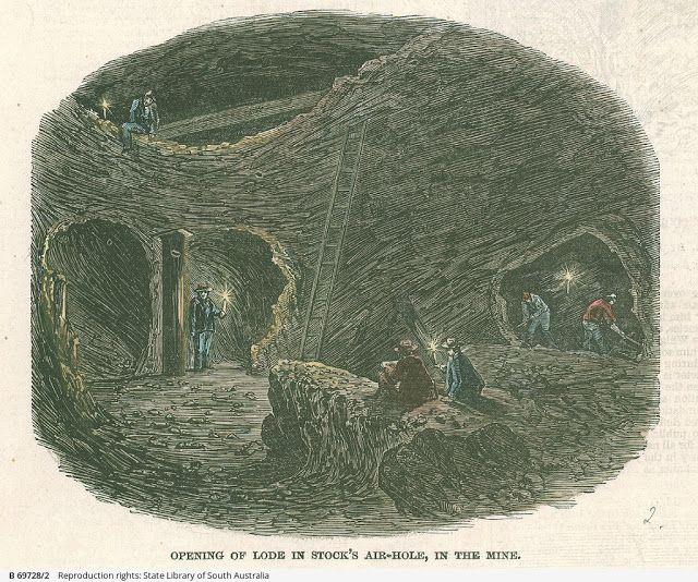 Burra Burra Mine - Opening of Lode in Stock's Air-Hole, in the Mine 1847