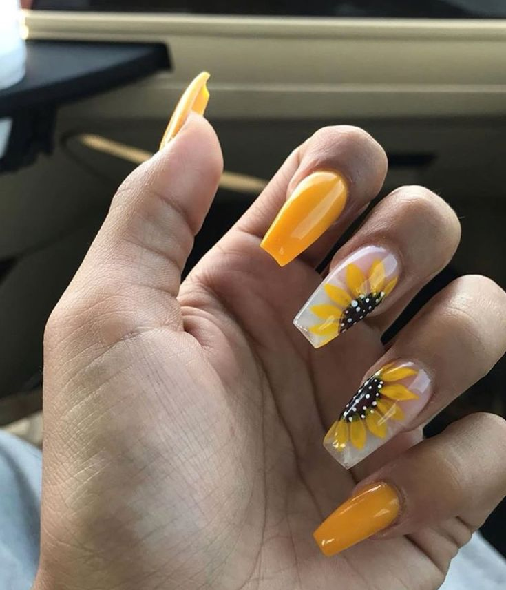Yellow Sunflower acrylic long coffin shaped nails with ...