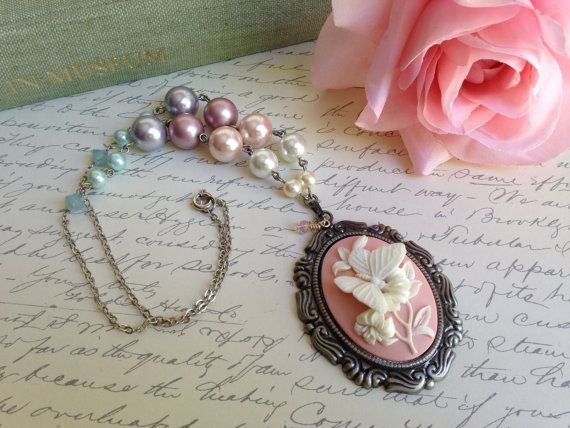 Butterfly cameo necklace, pink cameo with Swarovski pearls and crystals. Bridal bridesmaid statement necklace