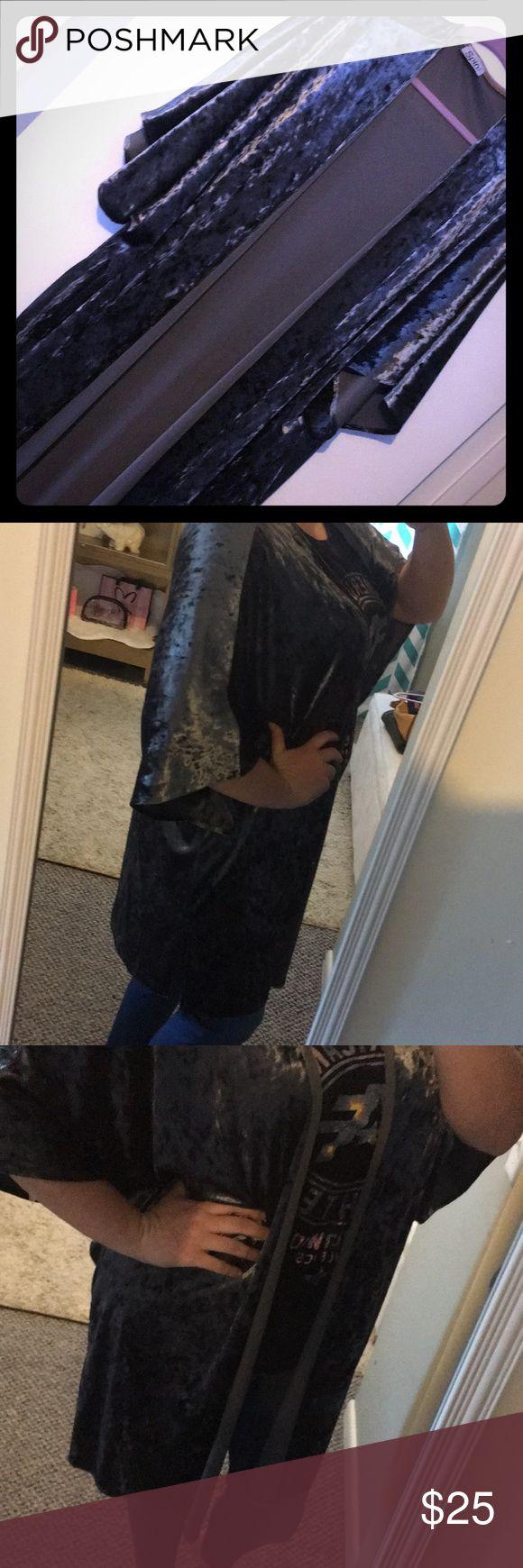 Steel Gray Velvet Kimono Duster Dark gray velvet duster comes to knee. 2X plus size TTS spin Tops