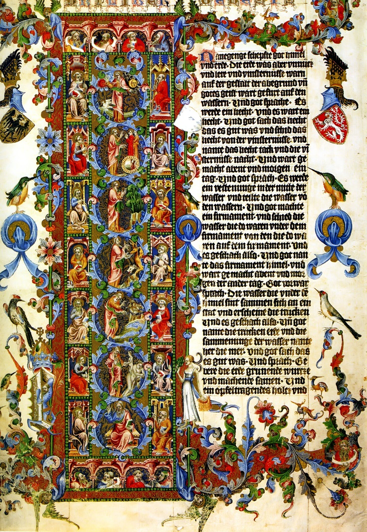 """15th Century Illuminated Bible Intro to Ecclesiastes 1  """"Vanity of vanities, all is vanity."""" What profit has a man from all his labor in which he toils under the sun?  One generation passes away, and another generation comes; but the earth abides forever.  The sun also rises, and the sun goes down, and hastens to the place where it arose.  The wind goes toward the south, and turns around to the north; the wind whirls about continually, and comes again on its circuit."""